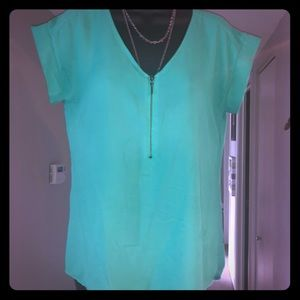 Green zip front top
